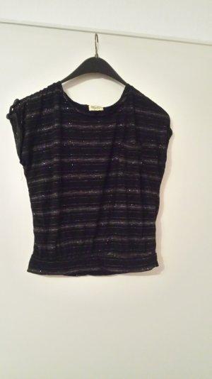 schwarzes T-Shirt mit glitzernden Streifen