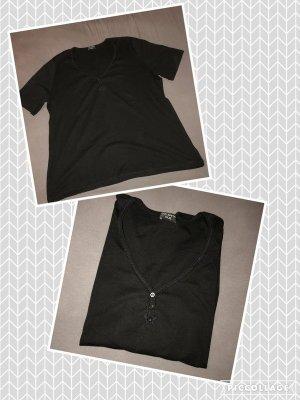 Schwarzes T-Shirt mit Knöpfen