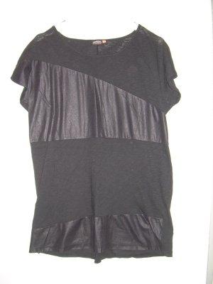 schwarzes T-Shirt mit Kunstleder-Details von Only Gr. L 40-42