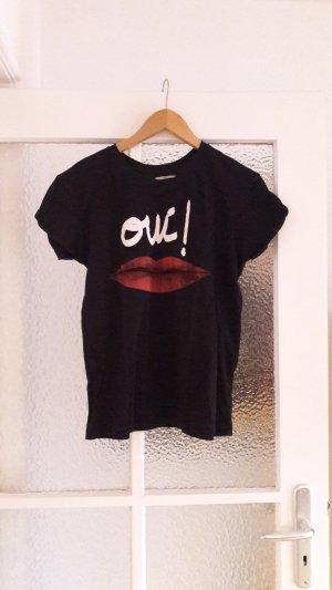 Schwarzes T-Shirt mit Kussmund-Print