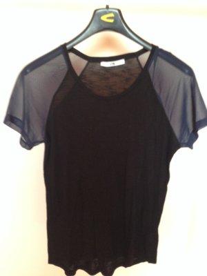 Schwarzes T-Shirt mit Netz-Ärmeln Gr. S