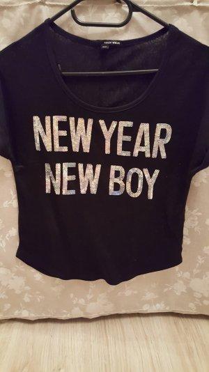 Schwarzes T-Shirt mit Pailettenaufdruck XXS