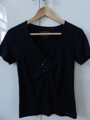 schwarzes T-Shirt mit Pailletten