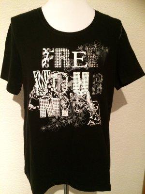 schwarzes T-Shirt mit Print und Nieten von CandA - Gr. 44
