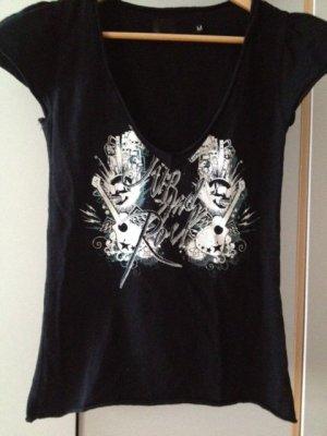 Schwarzes T-Shirt mit Rock-Print von Mogul Clothing in M