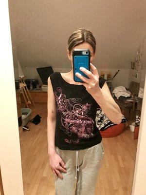 Schwarzes T-Shirt mit rosa Applikation