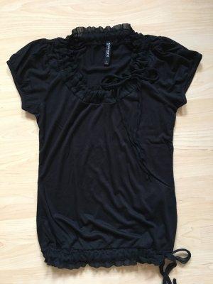 schwarzes T-shirt mit Rüschen