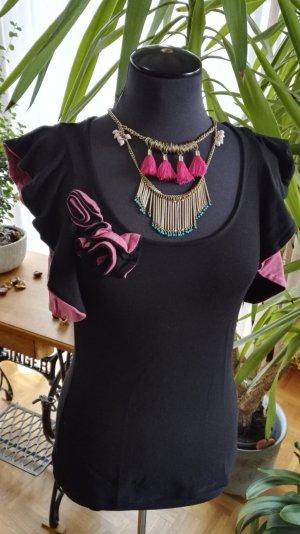 Schwarzes T-Shirt mit Rüschen von Orsay