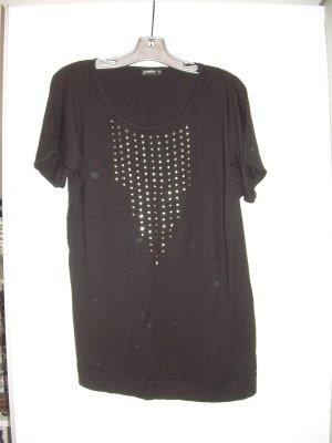 schwarzes T-Shirt mit silbernen Nieten Gr. 44 Oversize-Shirt
