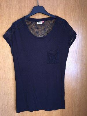 Schwarzes T-Shirt mit Spitze, Only, M