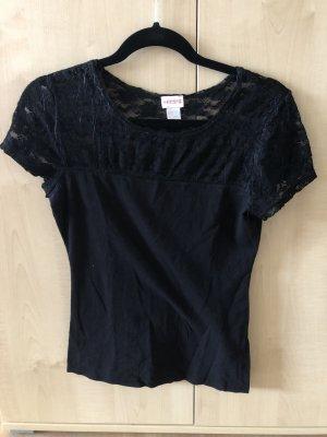 Schwarzes T-Shirt mit Spitze von H&M