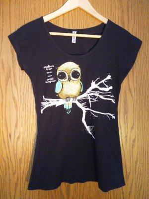 Schwarzes T-Shirt mit süßem Eulenprint in Größe M von Ezekiel