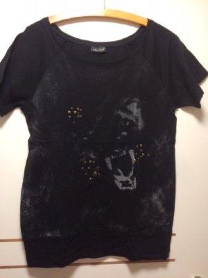 Schwarzes T-Shirt mit Tigerdruck und Nieten