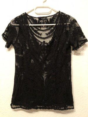 Schwarzes T-Shirt mit transparentem Muster