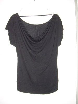 schwarzes T-Shirt mit Wasserfall-Ausschnitt Gr. XL 42 von Amisu