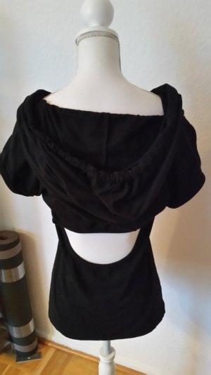 Schwarzes T-shirt von Fornarina mit Kapuze und süßer Schleife. Cut out hinten.