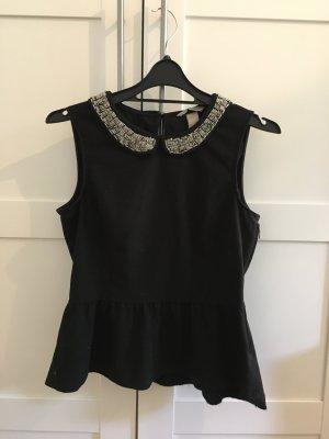 Schwarzes T-Shirt von H&M mit Perlenkragen