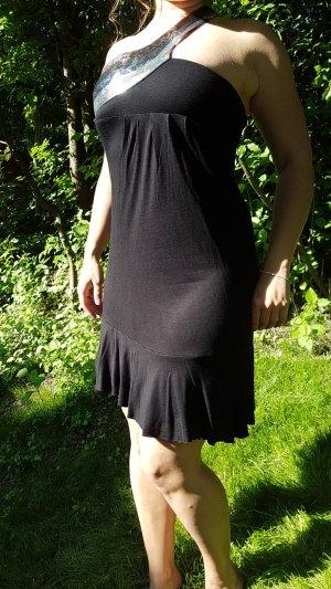 Schwarzes, tailliertes Mini Kleid
