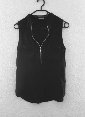Schwarzes Top / Bluse mit Reißverschluss