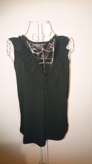 Schwarzes Top Bluse mit Spitze NEU