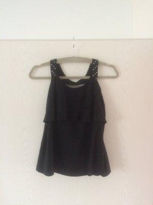 schwarzes Top, kurze Bluse, Vero Moda, Gr. M, Perlendetails, Rückenausschnitt