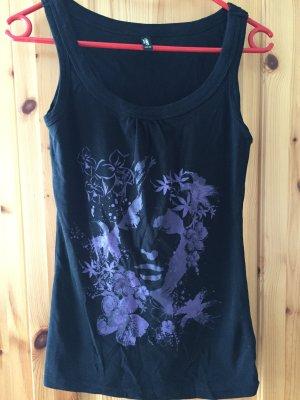 Schwarzes Top mit lila Muster von Takko in Größe S