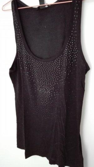 Schwarzes Top mit schwarzem Strass H&M S 36 Partytop