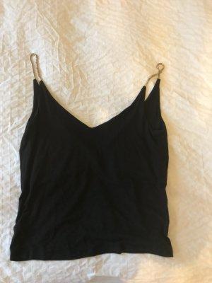 Schwarzes Top mit tiefem V- Ausschnitt vorne und hinten