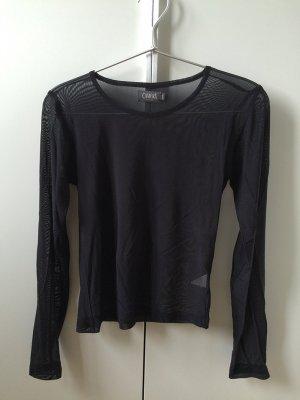 Schwarzes Top, See-through / durchsichtig / transparent, figurbetont, lange Ärmel