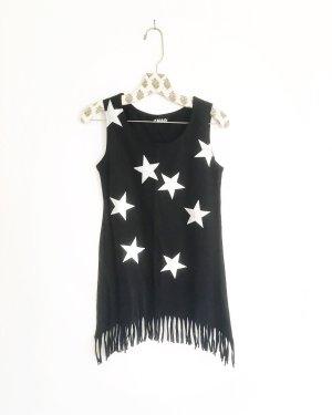 schwarzes top / shirt mit fransen und silbernen sternen / vintage / edgy / hippie
