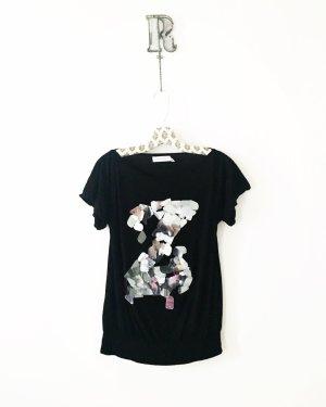 schwarzes top / shirt / zara / silber / pailetten