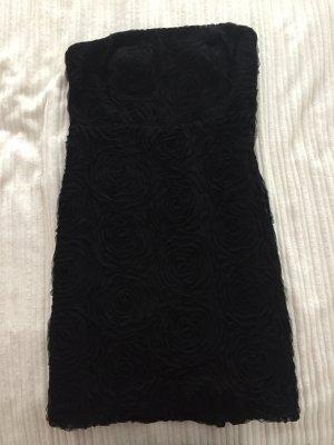Schwarzes Trägerloses Kleid mit Strukturmuster