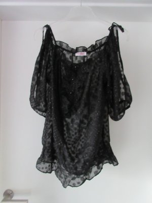 Schwarzes transparentes Blusenshirt