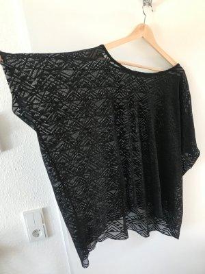 Schwarzes transparentes Oversize Top mit schönem Muster