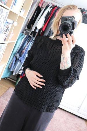Schwarzes transparentes Shirt von Zara Größe M mir Punkten Dots gepunktet