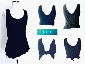 Schwarzes Trend Top 5-in-1 Style Crop oder zum binden oder zum Knoten / C&A / XL