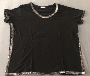 Schwarzes Triangle Shirt mt silbernem Druck an den Rändern