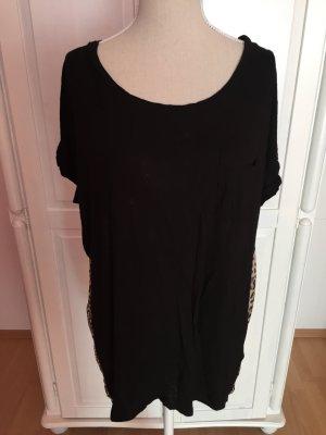 schwarzes Tshirt Leoprint