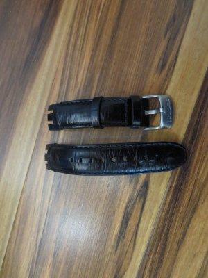 schwarzes Uhrenlederband für Swatch Retrograde