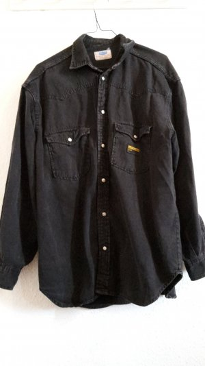 Schwarzes Vintage Oversize Jeanshemd