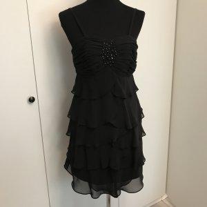 Schwarzes Volant Abendkleid