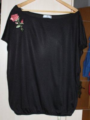 Schwarzes weites Shirt mit roter Rose Gr. 40/42 von AJC