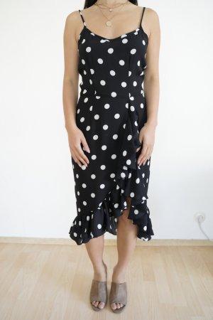 Vestido cruzado negro-blanco Algodón