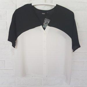 Schwarzweiße Kimono-Bluse mit V-Ausschnitt von ASOS in Größe 38