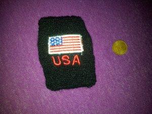 Schweißband schwarz USA Fahne Stickerei NEU