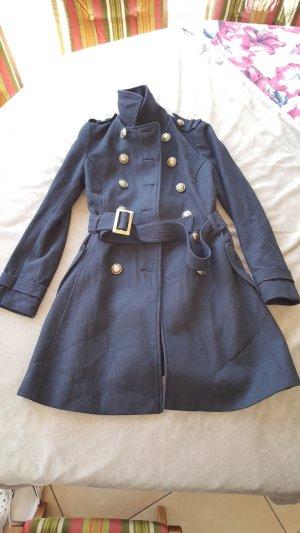 Schwerer dicker schwarzer Mantel Militärstil XS 34 H&M