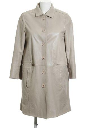 Schyia Manteau en cuir blanc cassé style décontracté