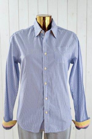 SCOTCH&SODA Damen Bluse Hemd Baumwolle Blau Weiß Gestreift Tasche Gr.S