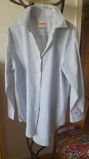 Scotch & Soda Camisa de manga larga azul claro-blanco Algodón