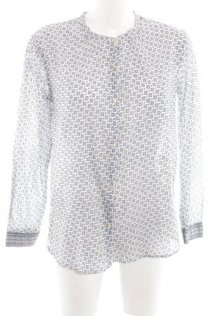 Scotch & Soda Langarm-Bluse weiß-hellgrau abstraktes Muster Casual-Look